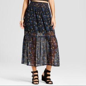 NWT xhilaration sheer floral maxi skirt size XL